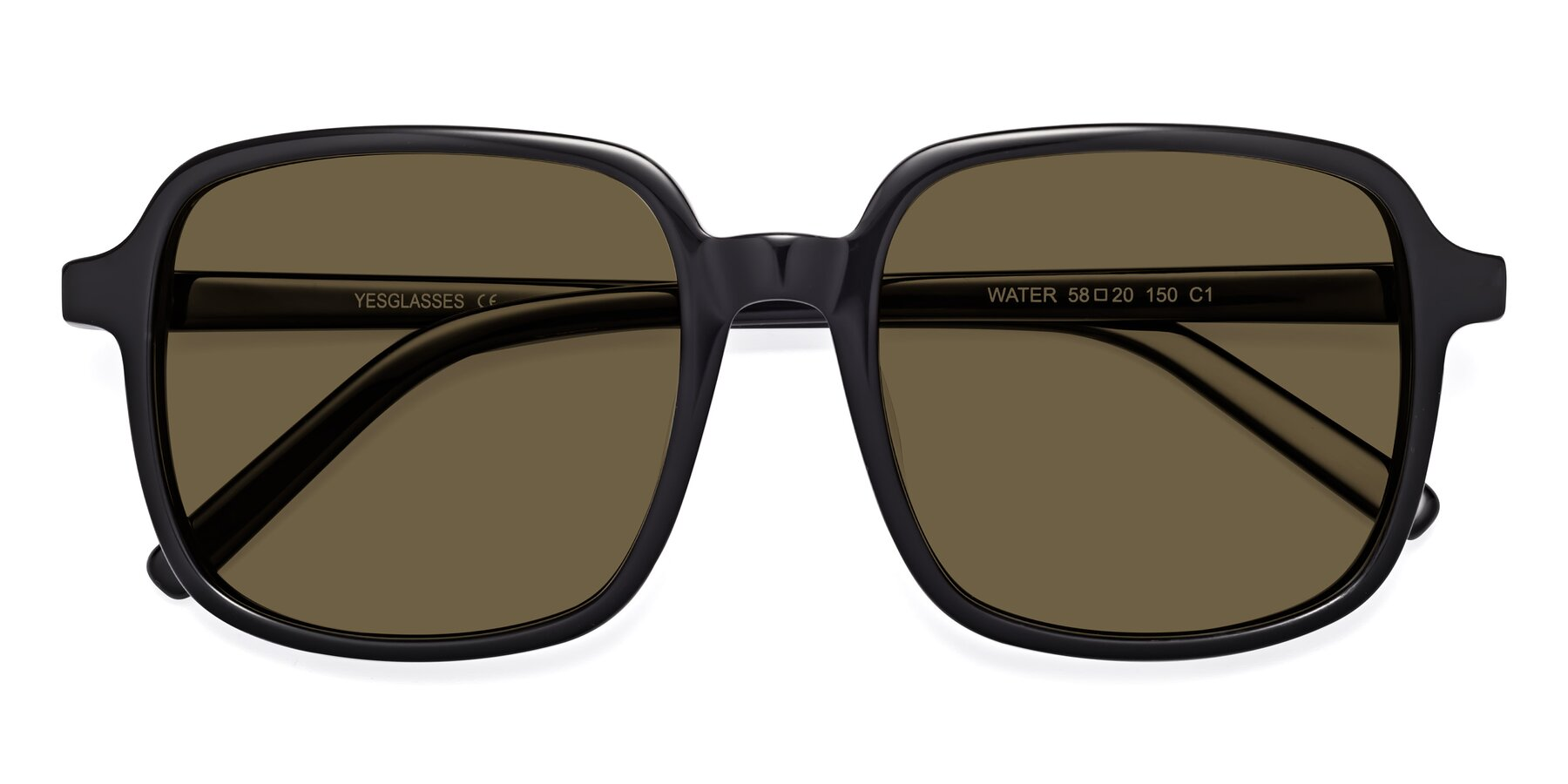 Folded Front of Water in Black with Brown Polarized Lenses