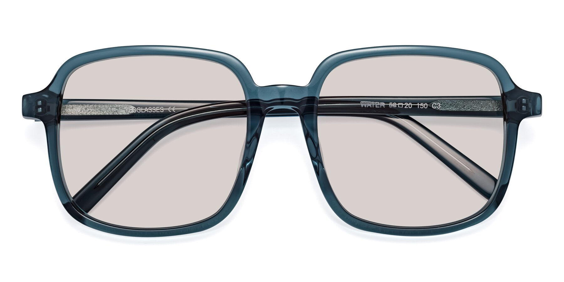 Folded Front of Water in Transparent Cyan with Light Brown Tinted Lenses