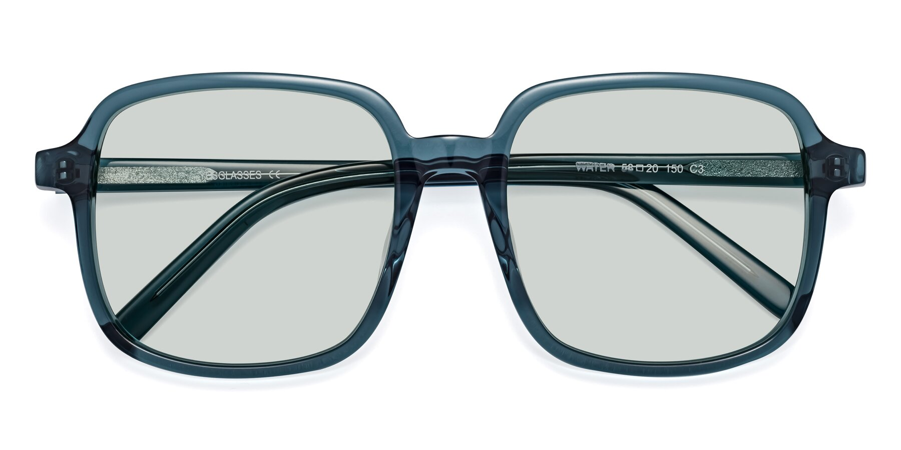 Folded Front of Water in Transparent Cyan with Light Green Tinted Lenses