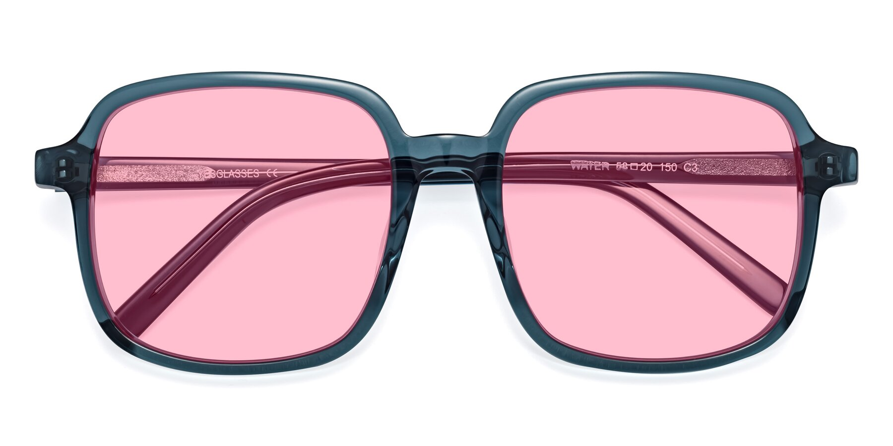 Folded Front of Water in Transparent Cyan with Medium Pink Tinted Lenses