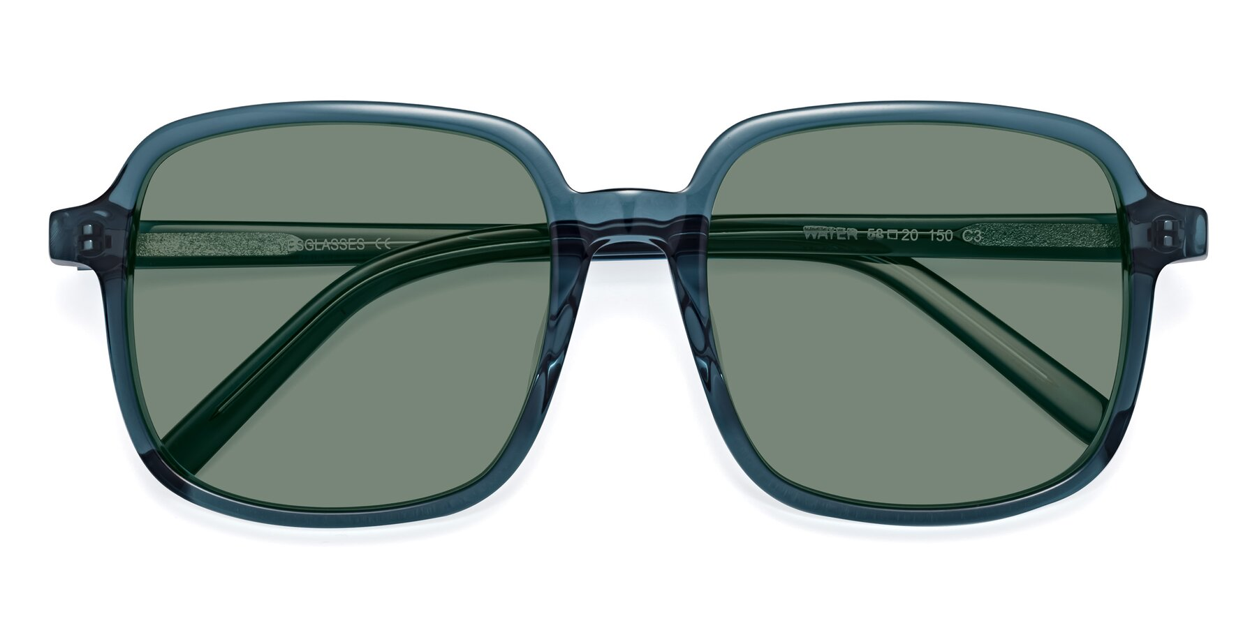 Folded Front of Water in Transparent Cyan with Medium Green Tinted Lenses