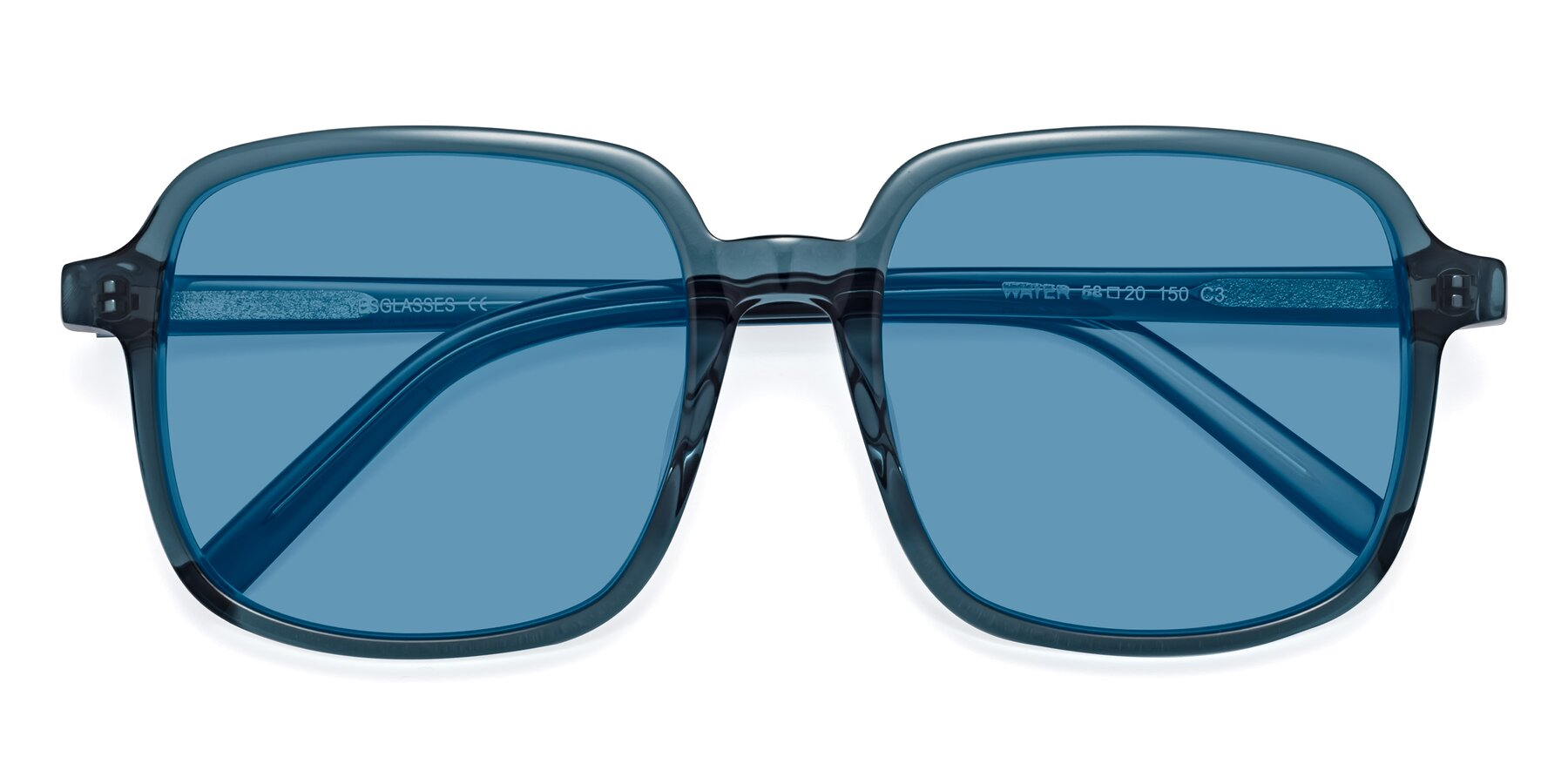Folded Front of Water in Transparent Cyan with Medium Blue Tinted Lenses