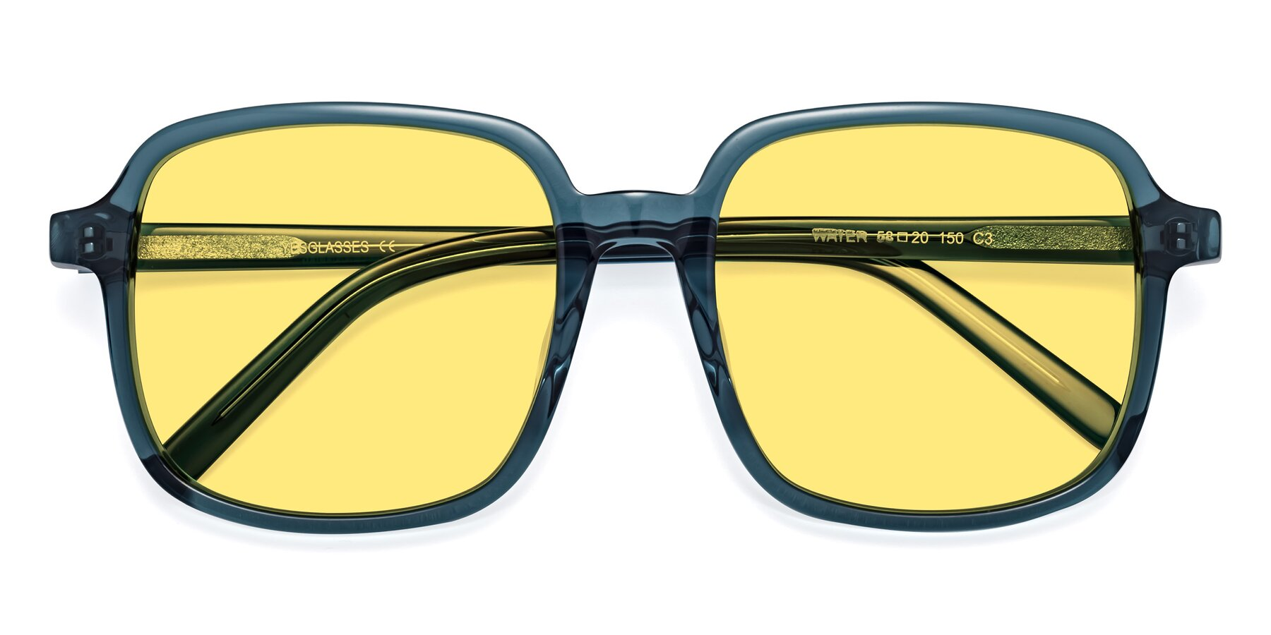 Folded Front of Water in Transparent Cyan with Medium Yellow Tinted Lenses