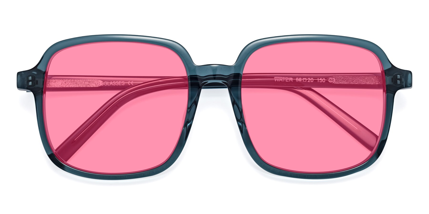 Folded Front of Water in Transparent Cyan with Pink Tinted Lenses
