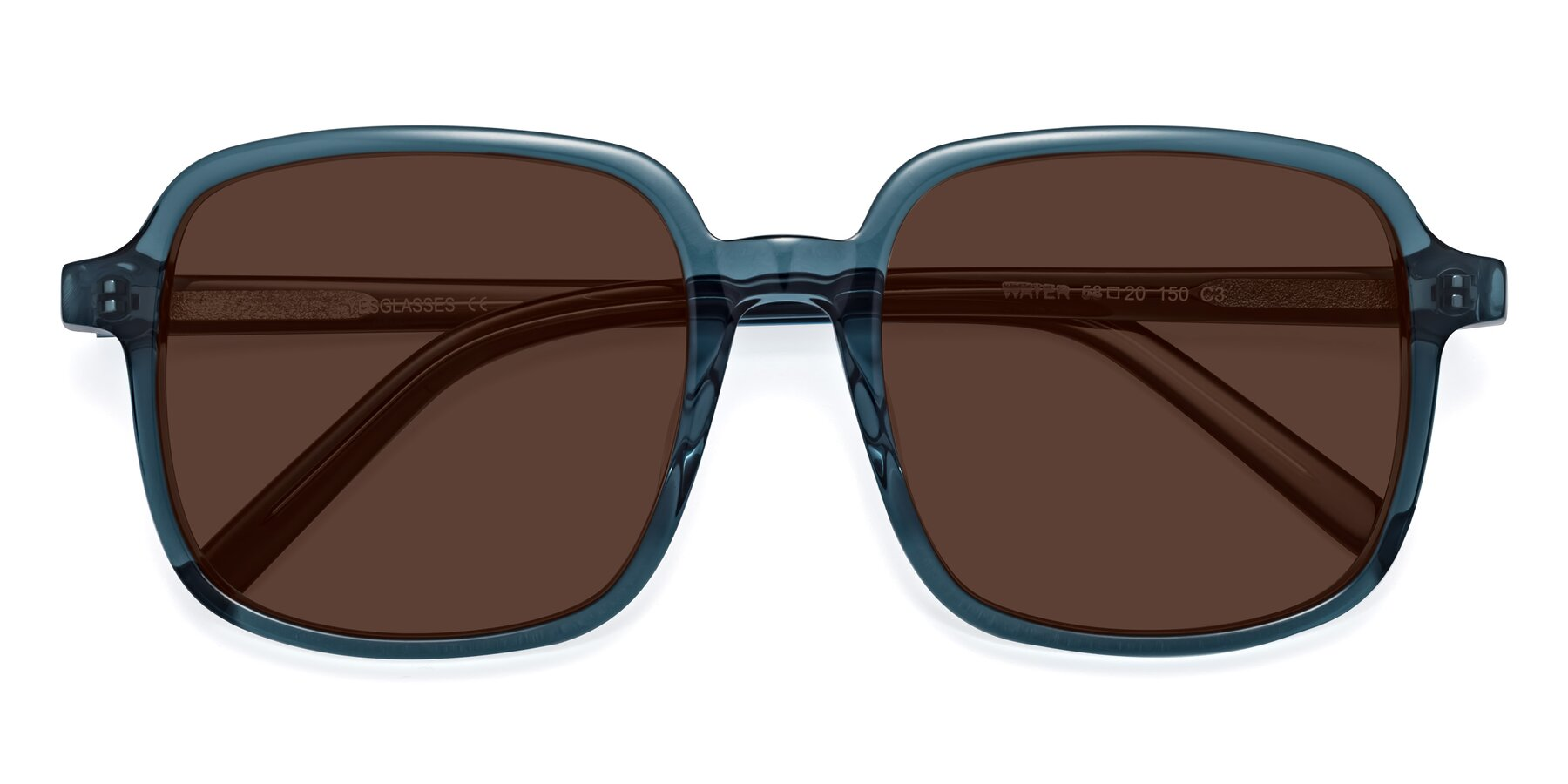 Folded Front of Water in Transparent Cyan with Brown Tinted Lenses