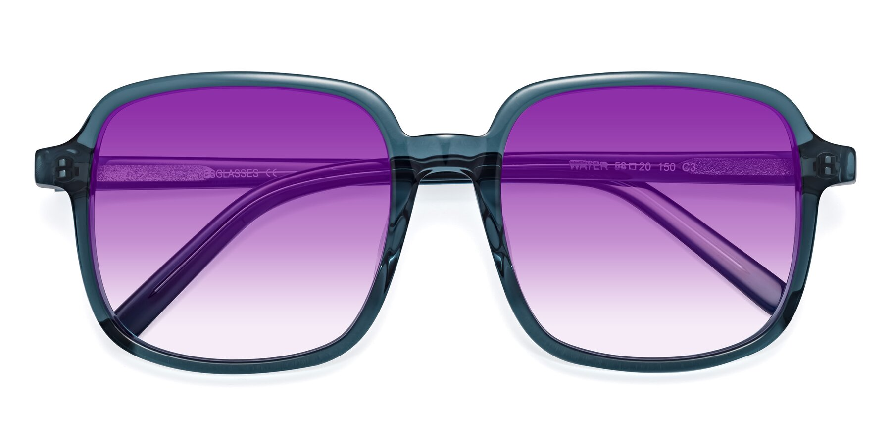 Folded Front of Water in Transparent Cyan with Purple Gradient Lenses