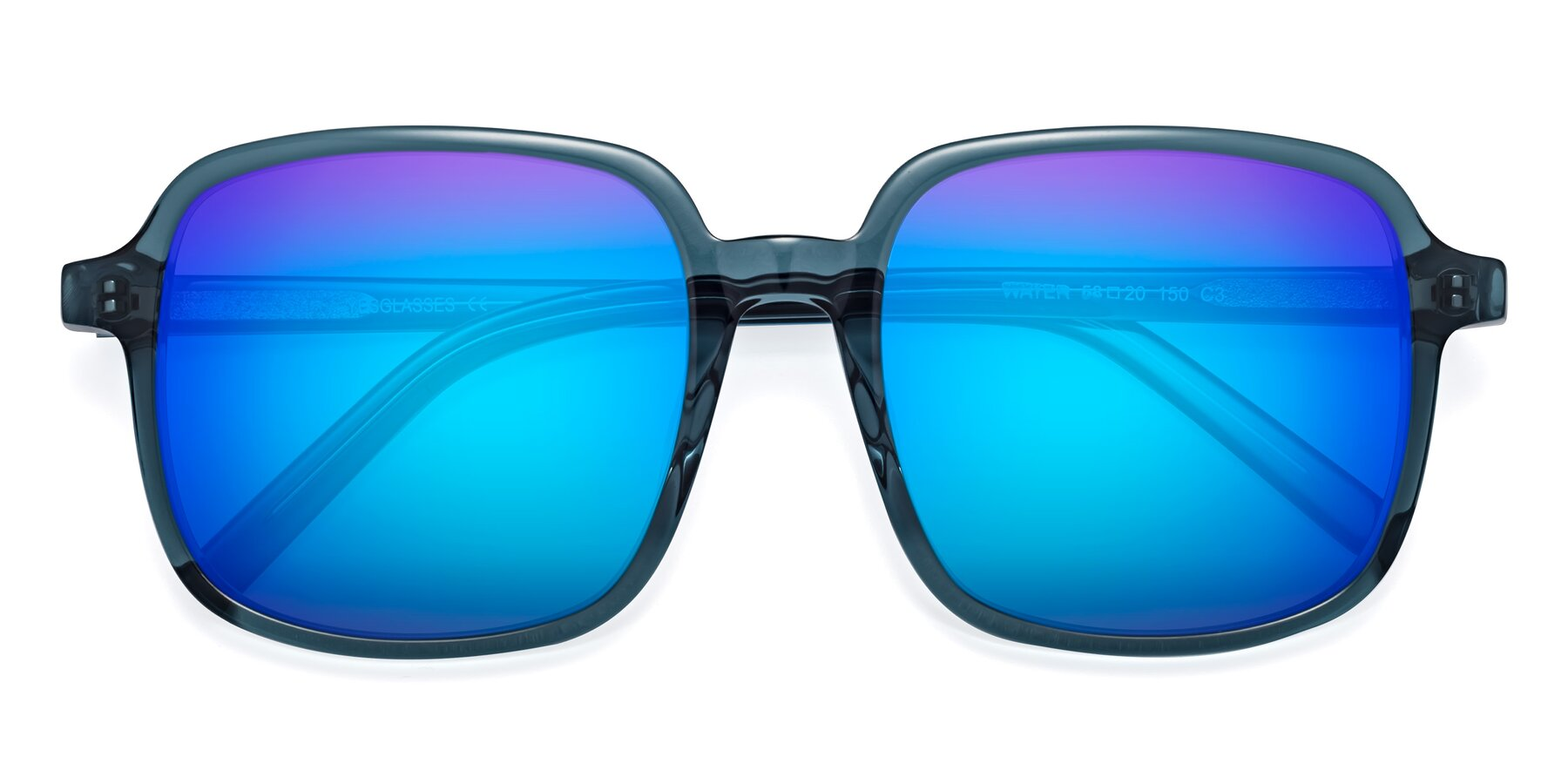 Folded Front of Water in Transparent Cyan with Blue Mirrored Lenses