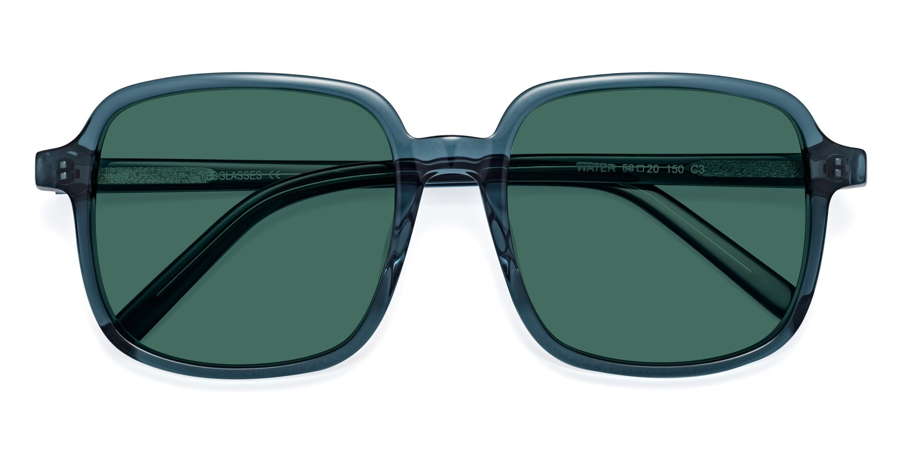 Folded Front of Water in Transparent Cyan with Green Polarized Lenses