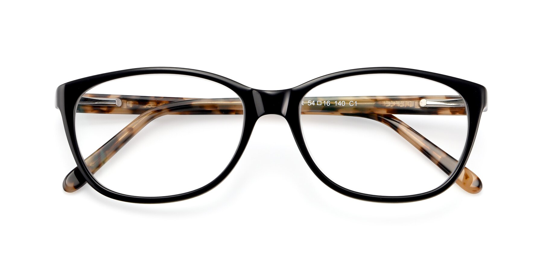 Folded Front of Xavier in Black with Clear Eyeglass Lenses