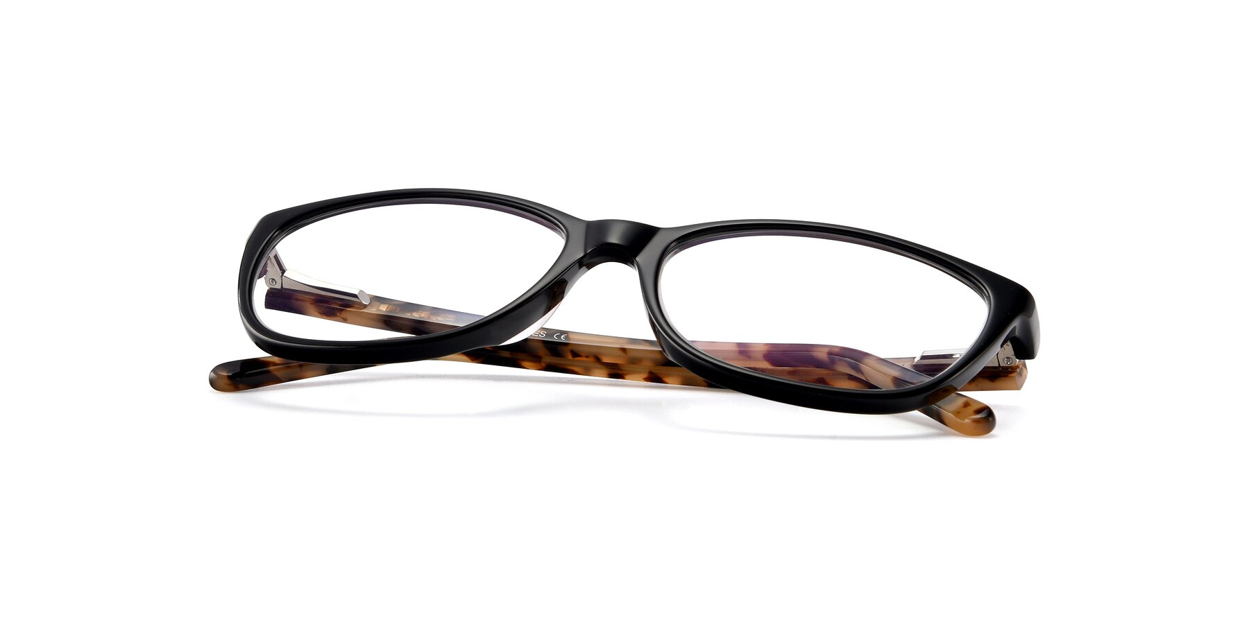 View of Xavier in Black with Clear Eyeglass Lenses