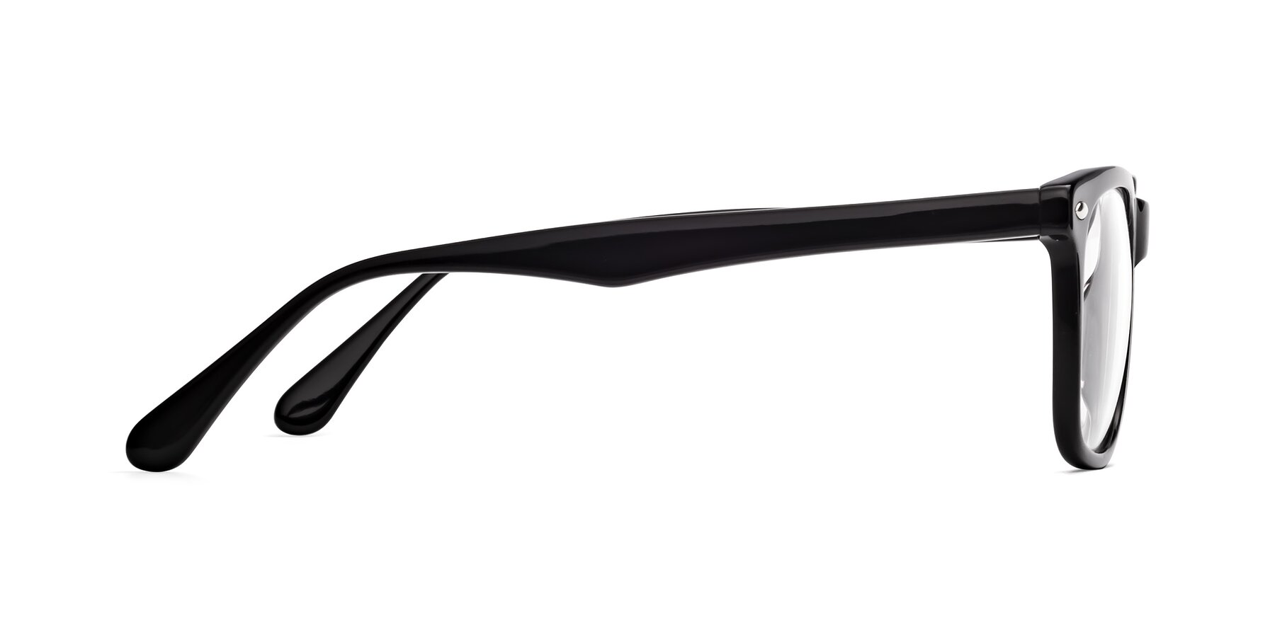 Side of 007 in Black with Clear Blue Light Blocking Lenses