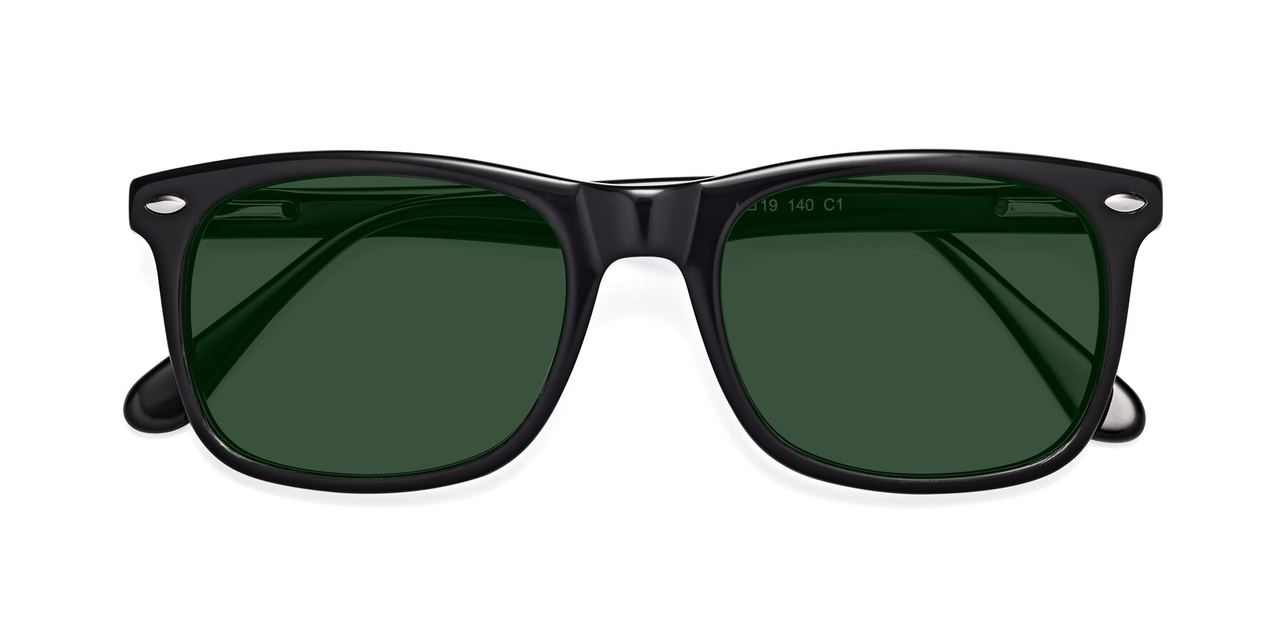 Folded Front of 007 in Black with Green Tinted Lenses