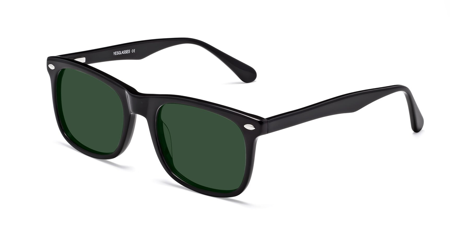 Angle of 007 in Black with Green Tinted Lenses