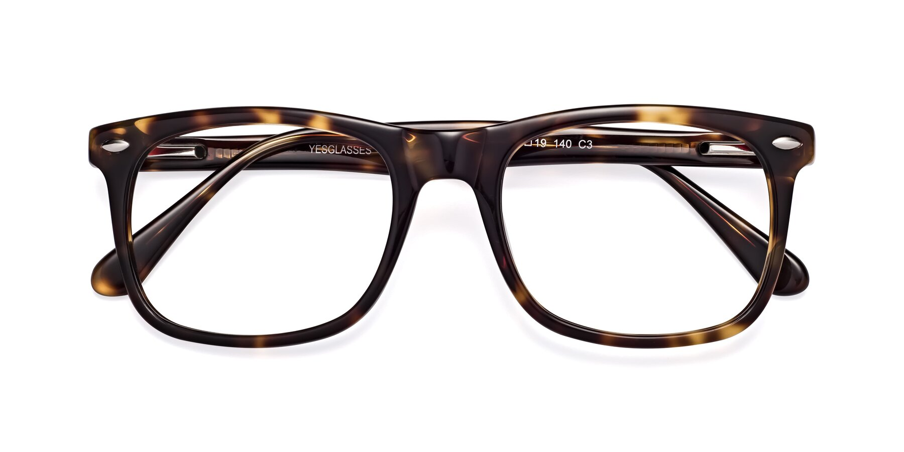 Folded Front of 007 in Yellow Tortoise with Clear Eyeglass Lenses