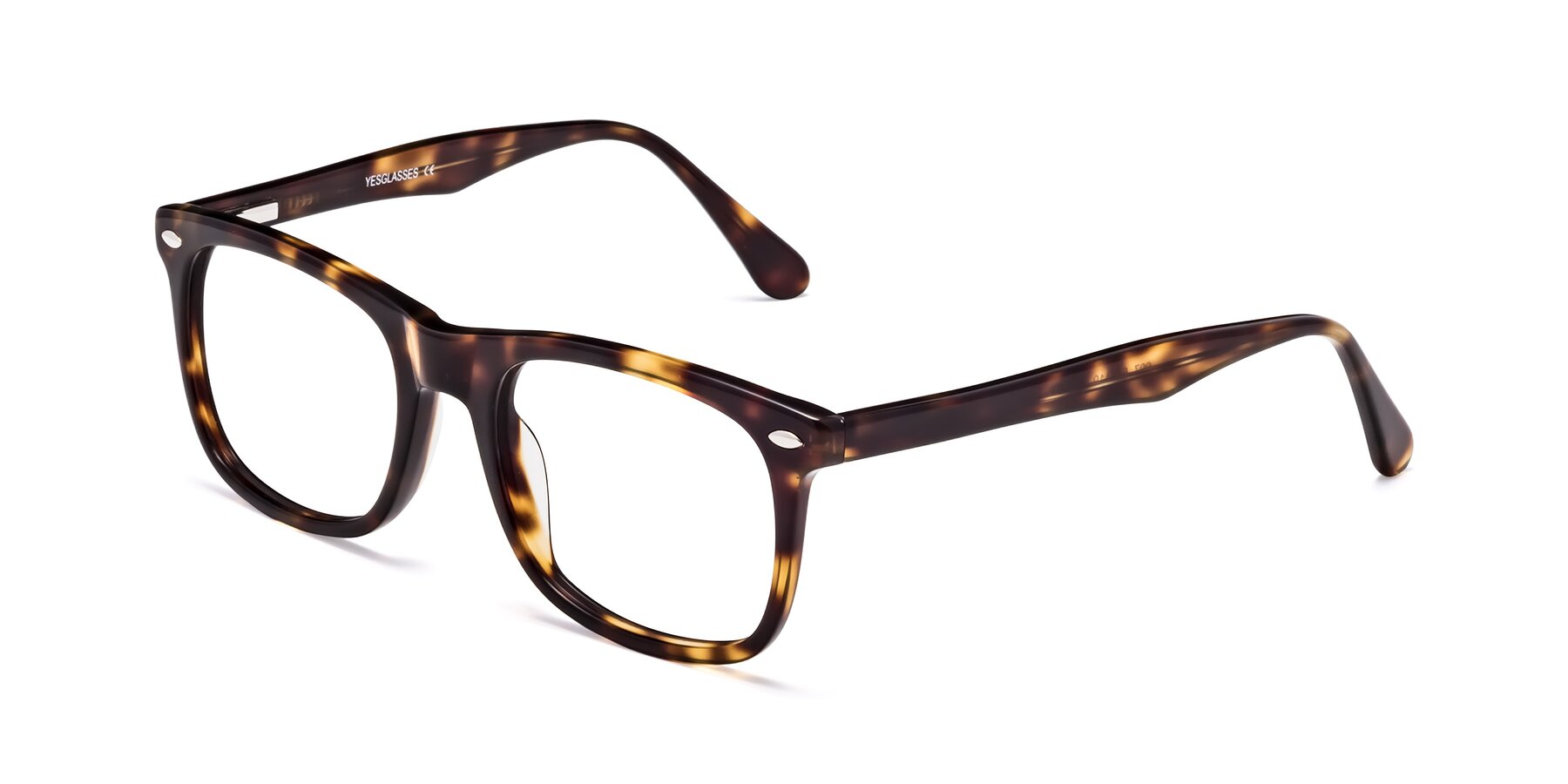 Angle of 007 in Yellow Tortoise with Clear Eyeglass Lenses