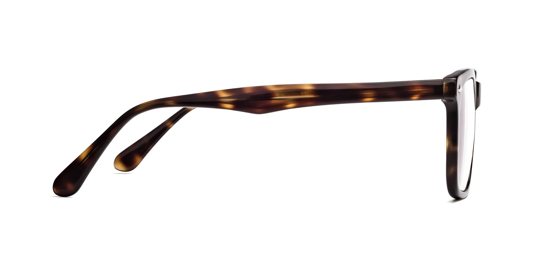 Side of 007 in Yellow Tortoise with Clear Eyeglass Lenses