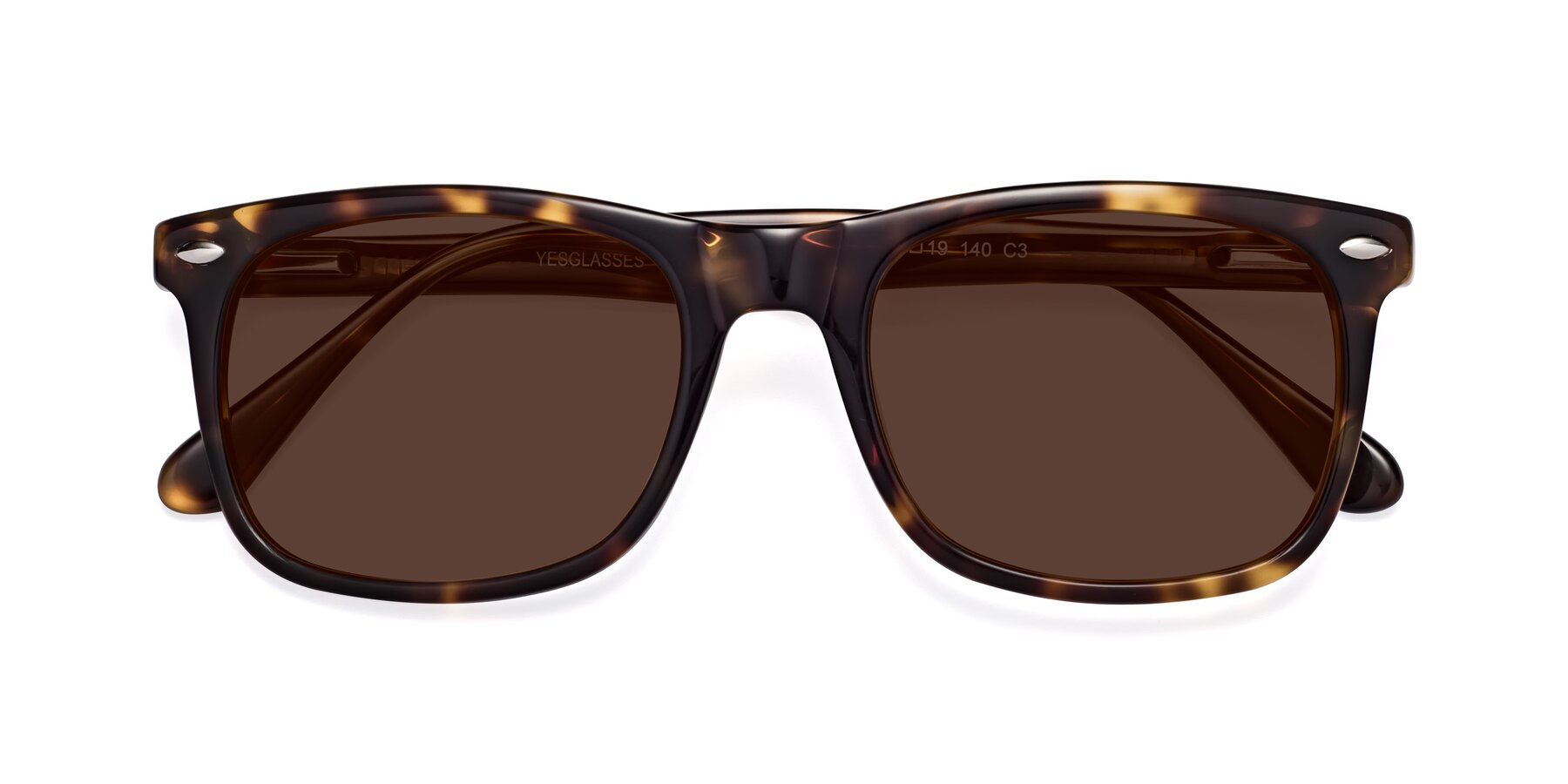 Folded Front of 007 in Yellow Tortoise with Brown Tinted Lenses