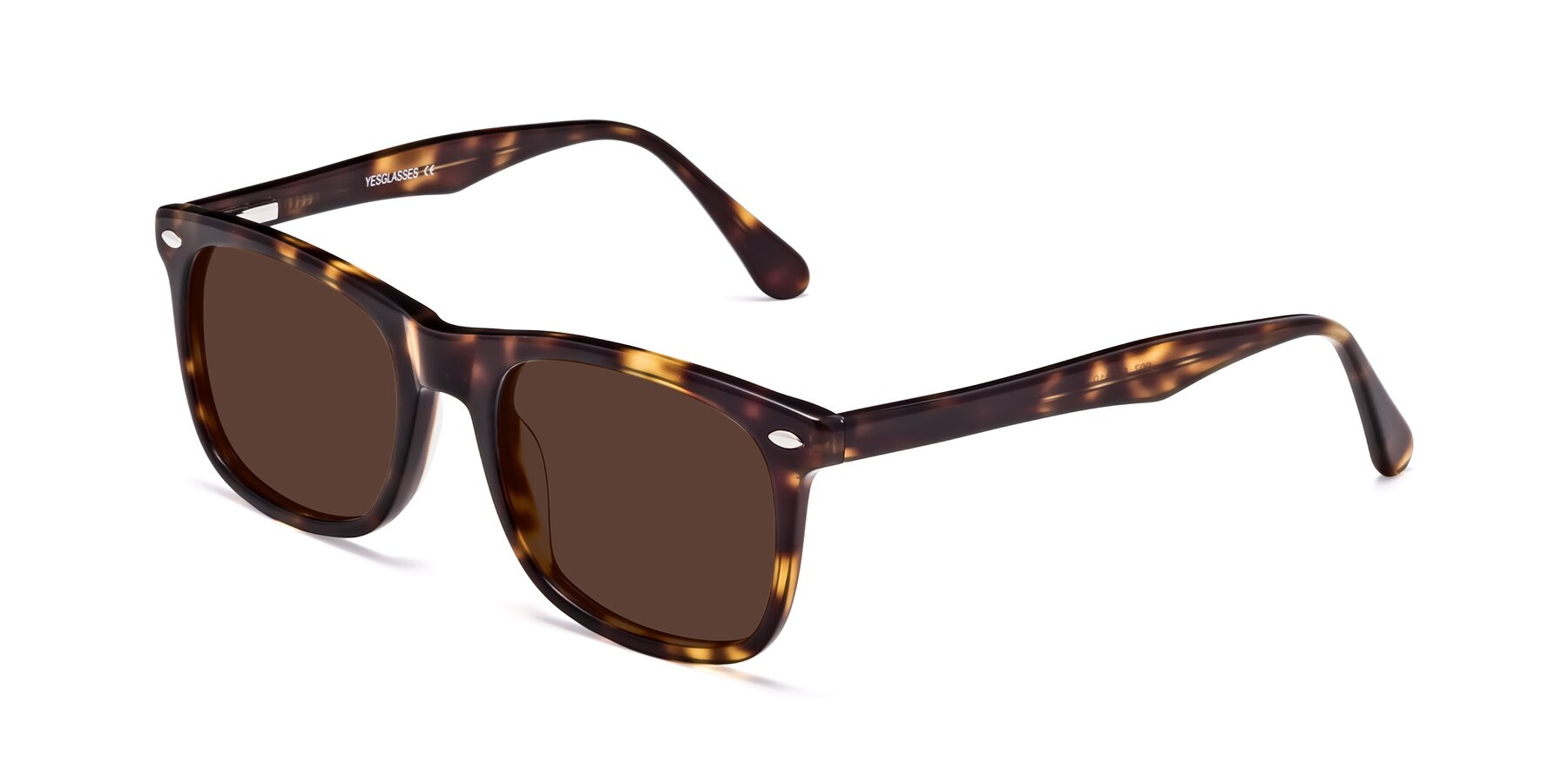 Angle of 007 in Yellow Tortoise with Brown Tinted Lenses