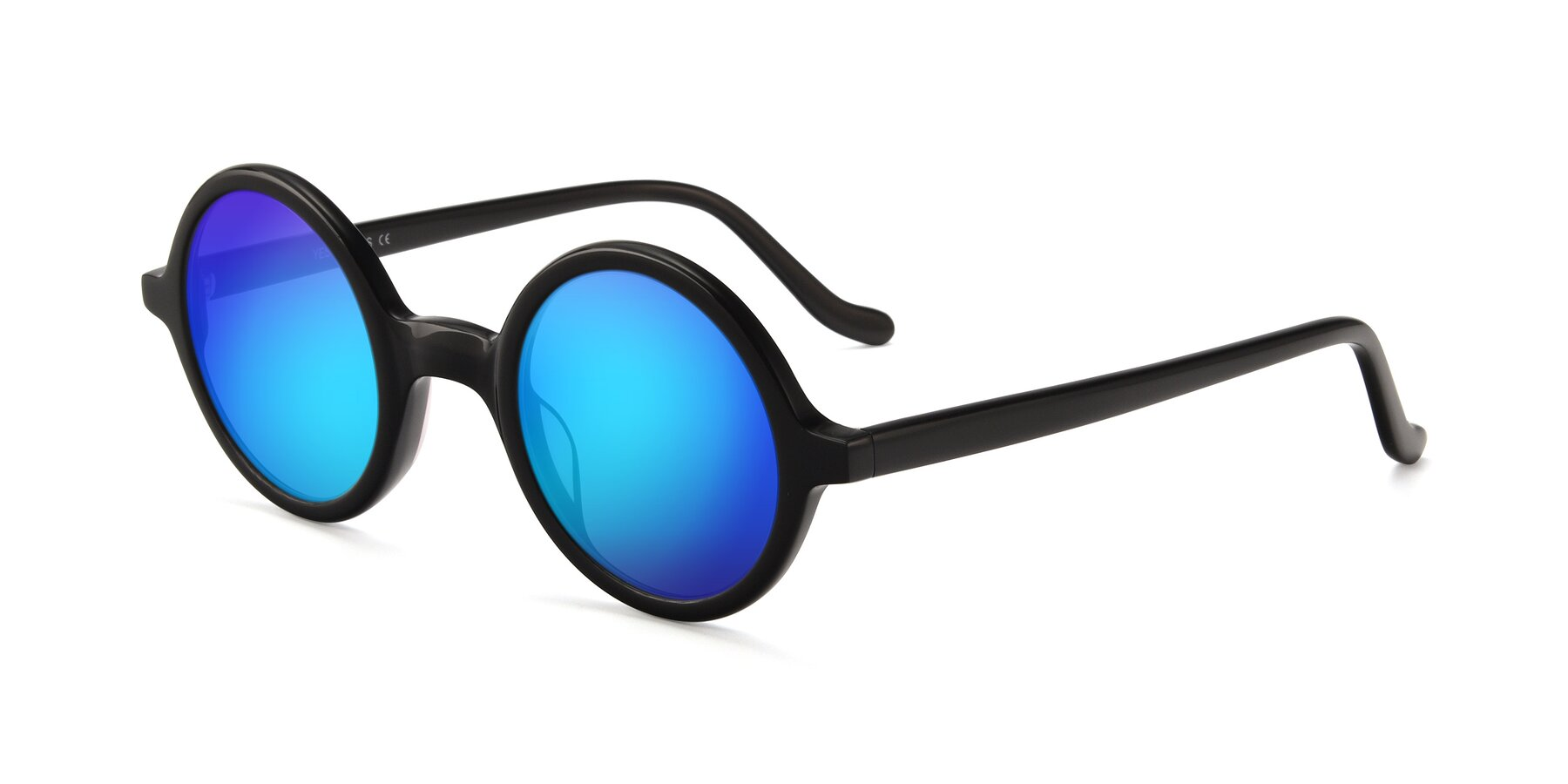 Angle of Chaplin in Black with Blue Mirrored Lenses
