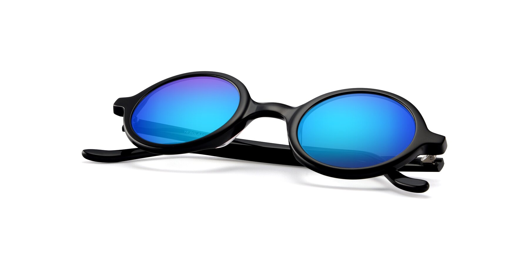 View of Chaplin in Black with Blue Mirrored Lenses