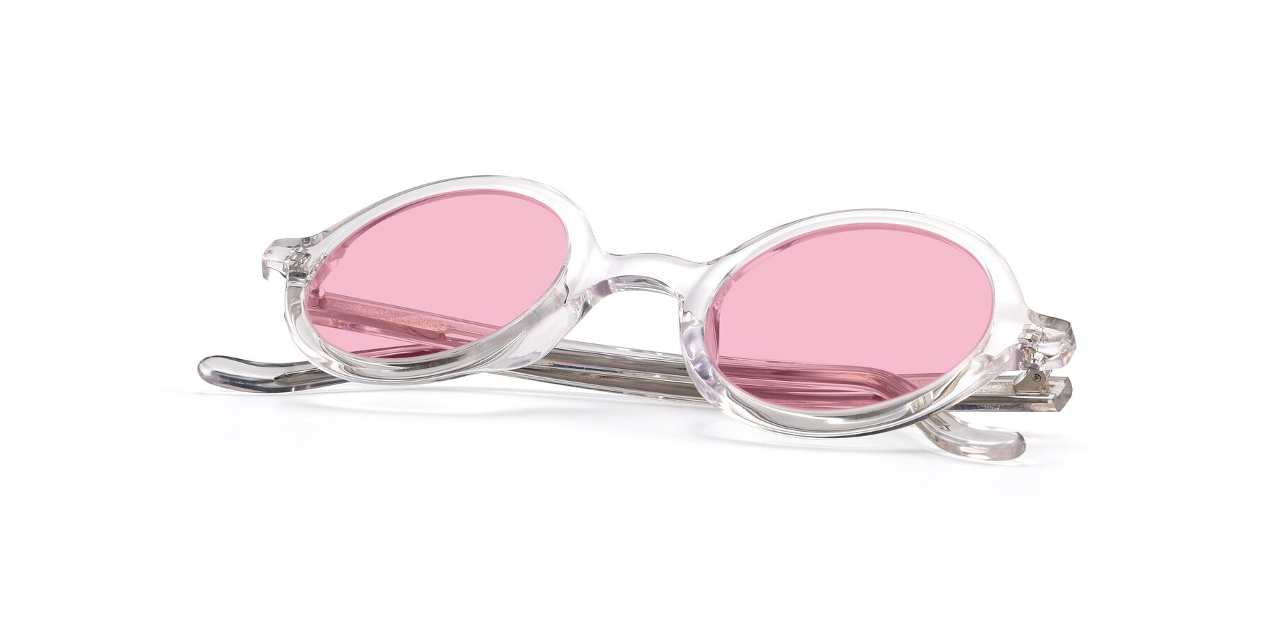 View of Chaplin in Clear with Medium Pink Tinted Lenses