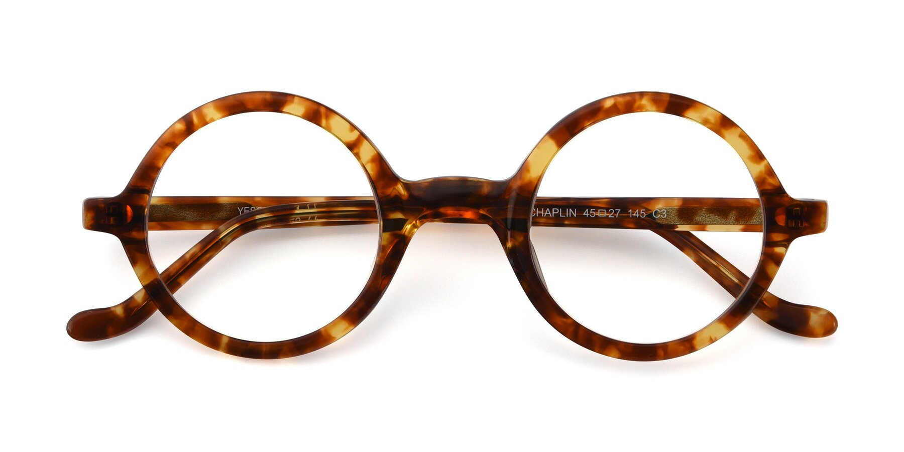 Folded Front of Chaplin in Tortoise with Clear Eyeglass Lenses