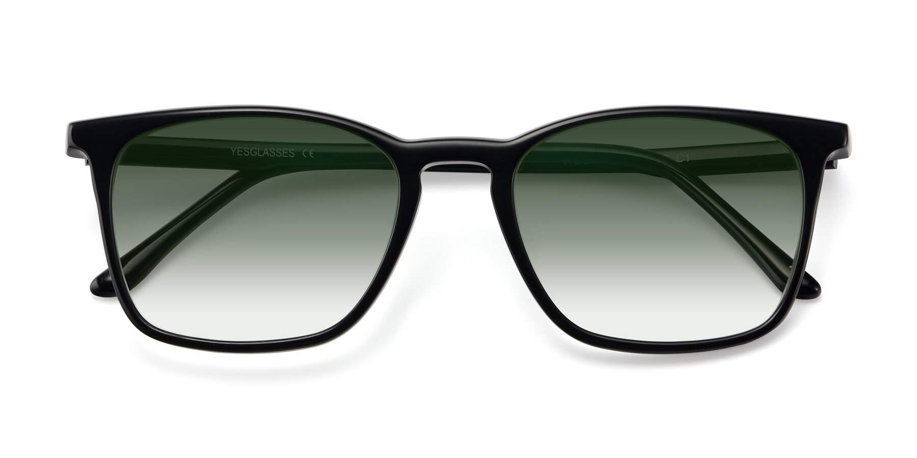 Folded Front of Vigor in Black with Green Gradient Lenses
