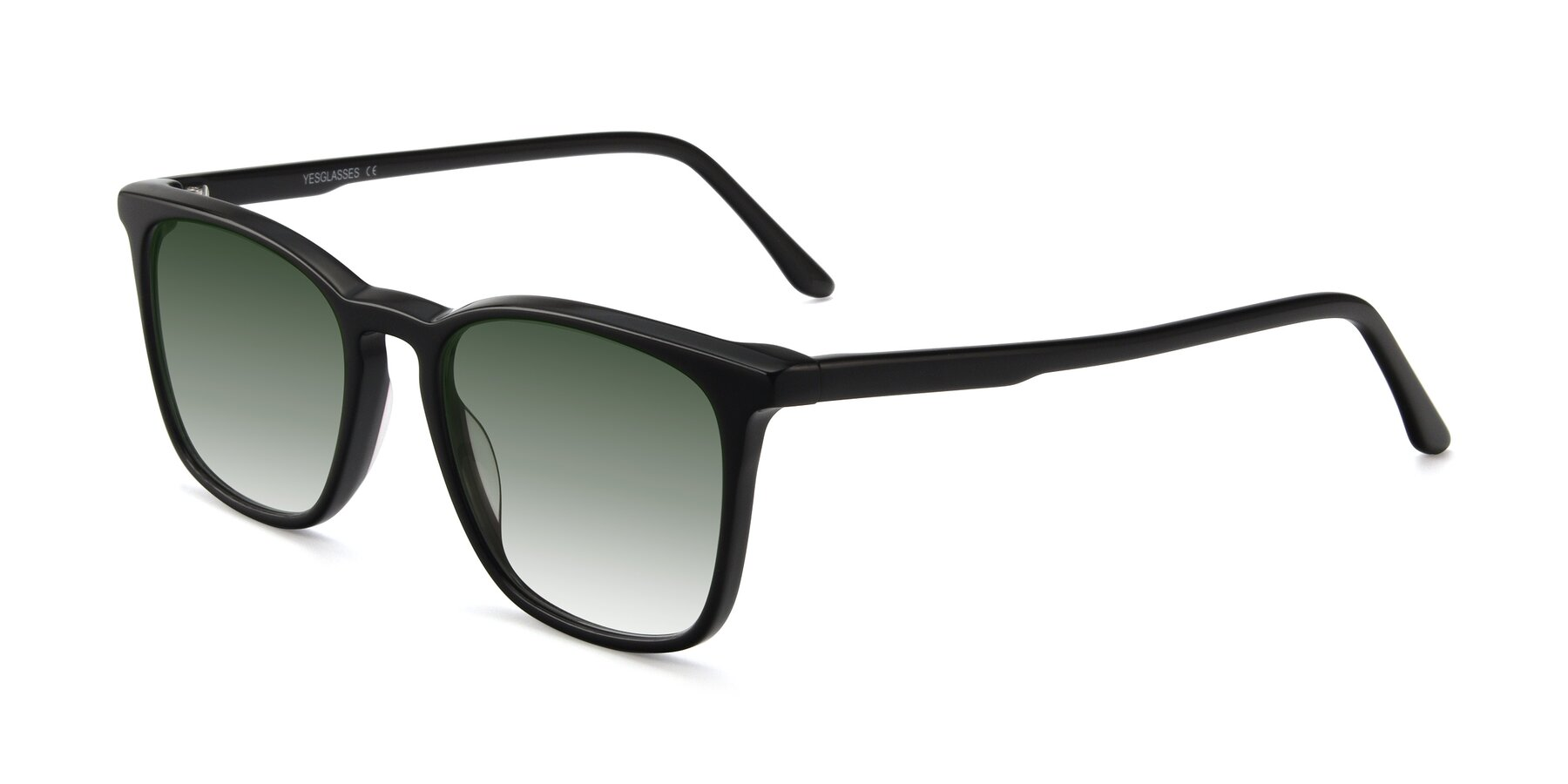 Angle of Vigor in Black with Green Gradient Lenses