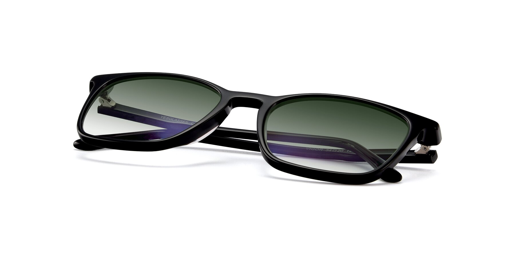View of Vigor in Black with Green Gradient Lenses