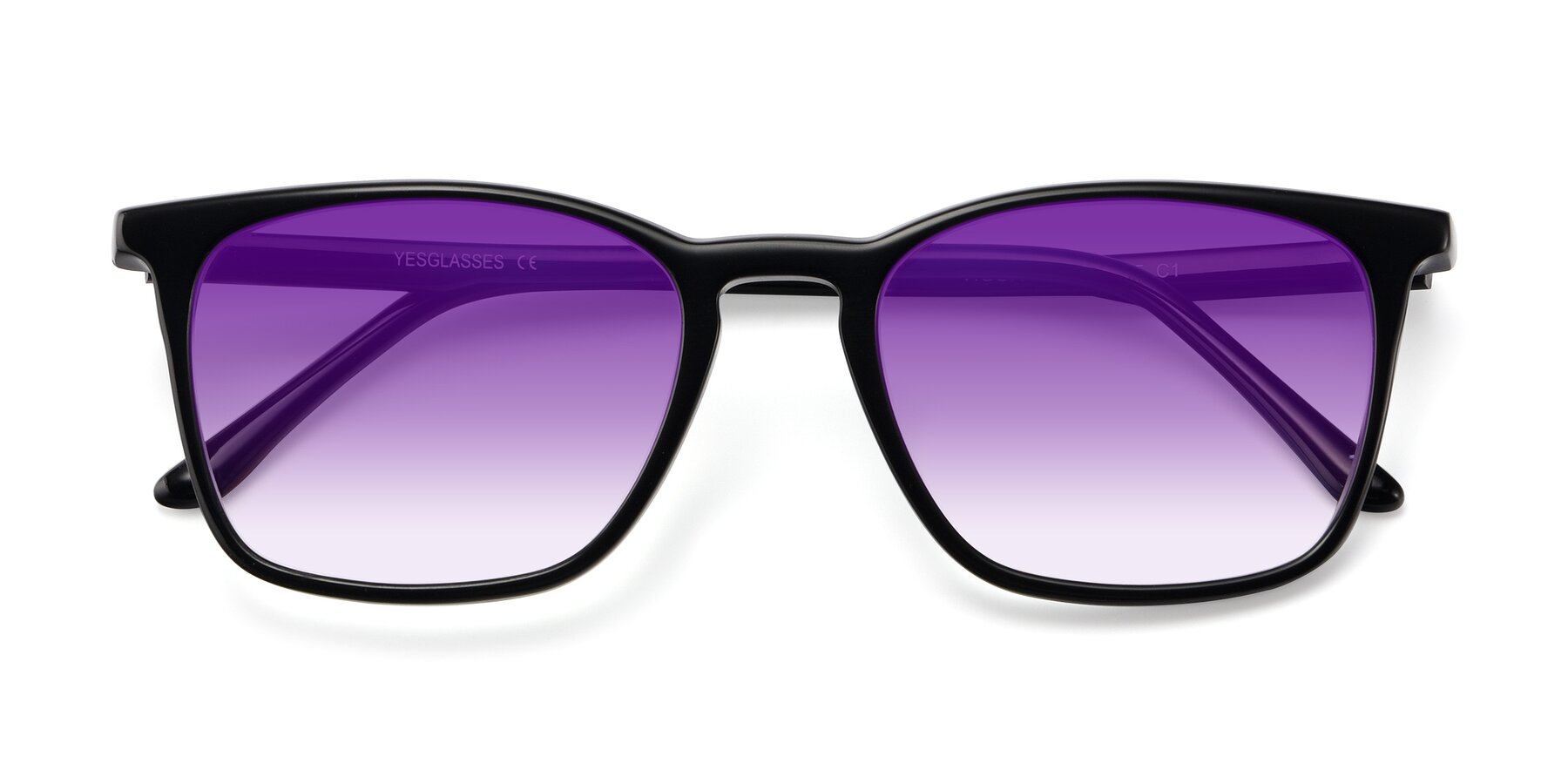 Folded Front of Vigor in Black with Purple Gradient Lenses