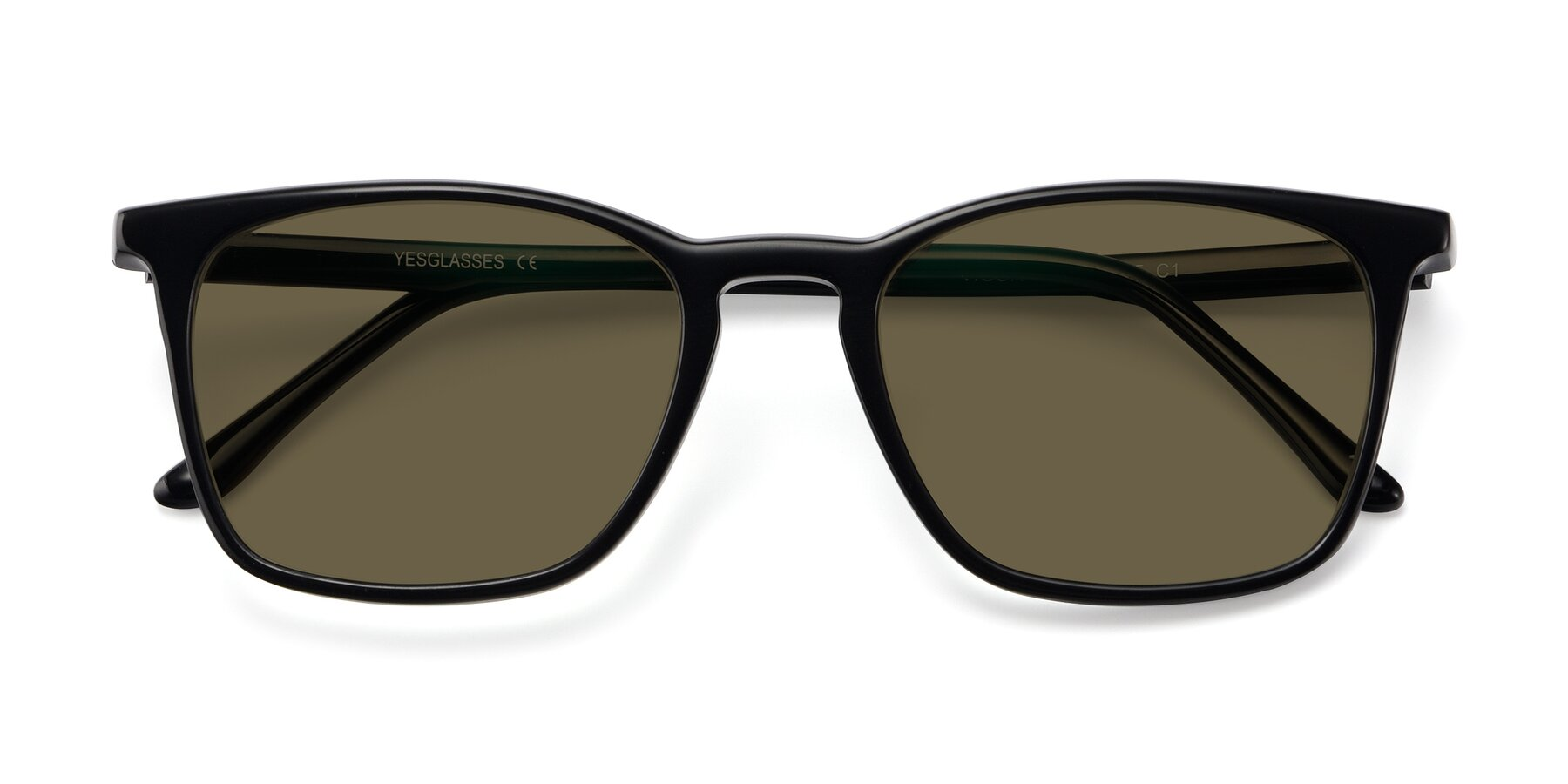 Folded Front of Vigor in Black with Brown Polarized Lenses