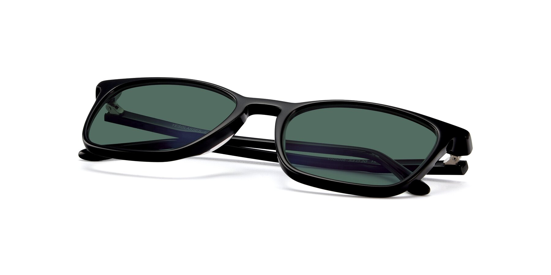 View of Vigor in Black with Green Polarized Lenses