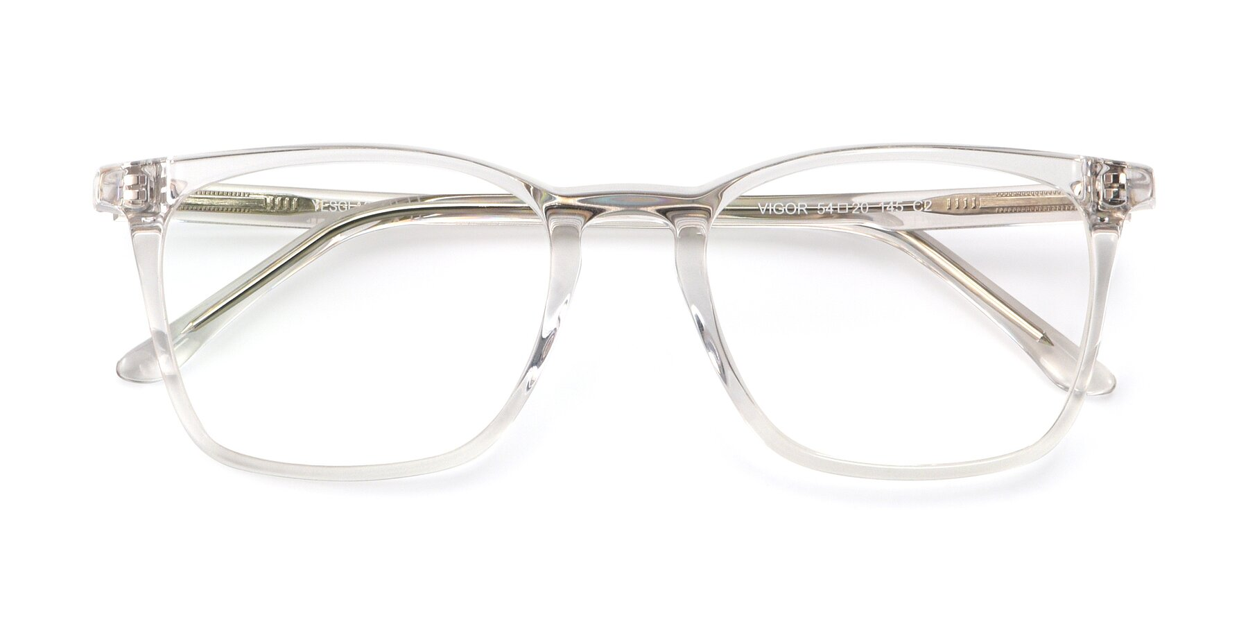 Folded Front of Vigor in Clear with Clear Blue Light Blocking Lenses