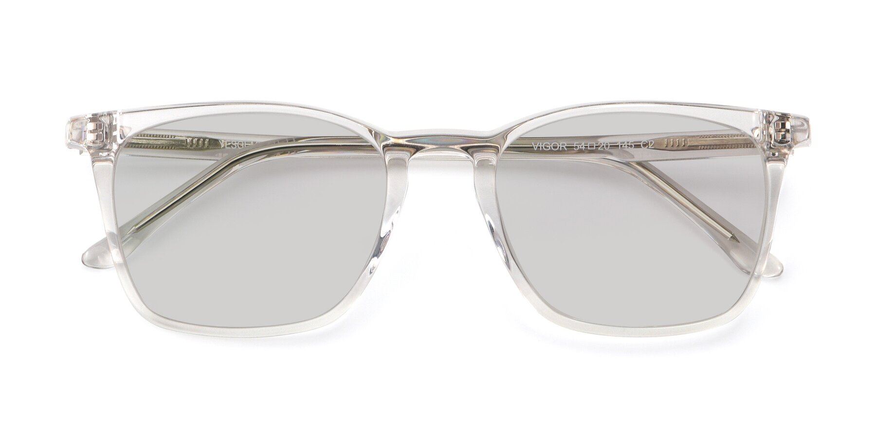 Folded Front of Vigor in Clear with Light Gray Tinted Lenses