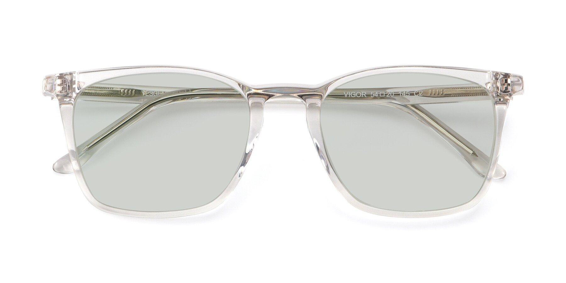Folded Front of Vigor in Clear with Light Green Tinted Lenses