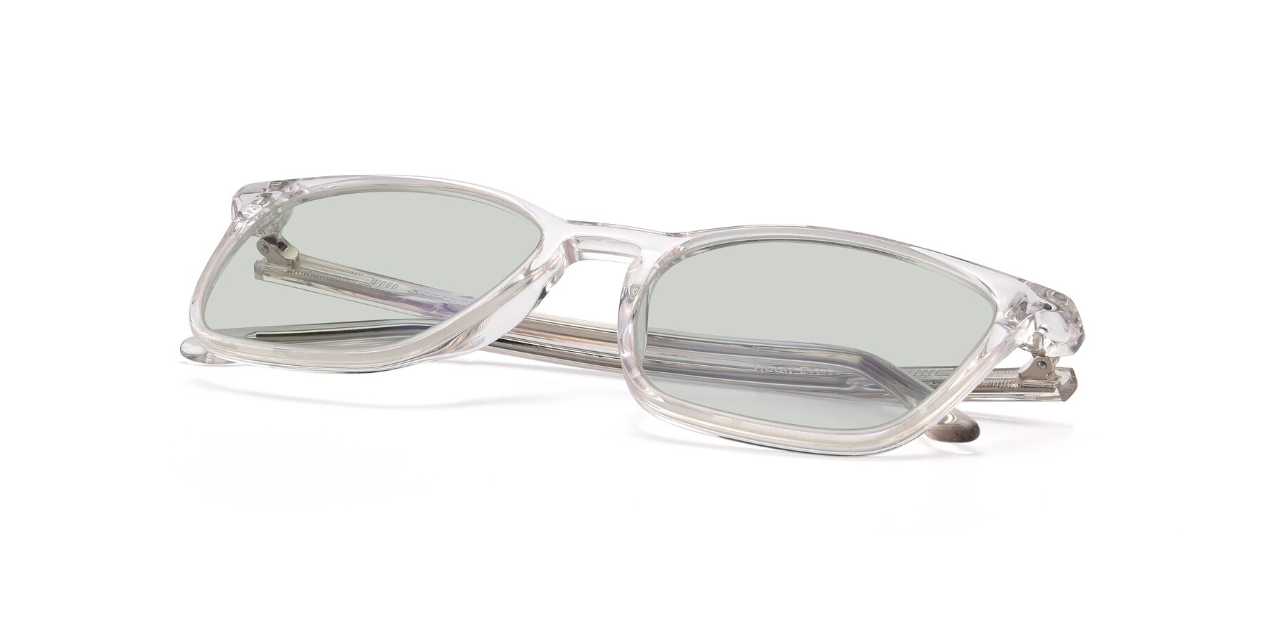 View of Vigor in Clear with Light Green Tinted Lenses