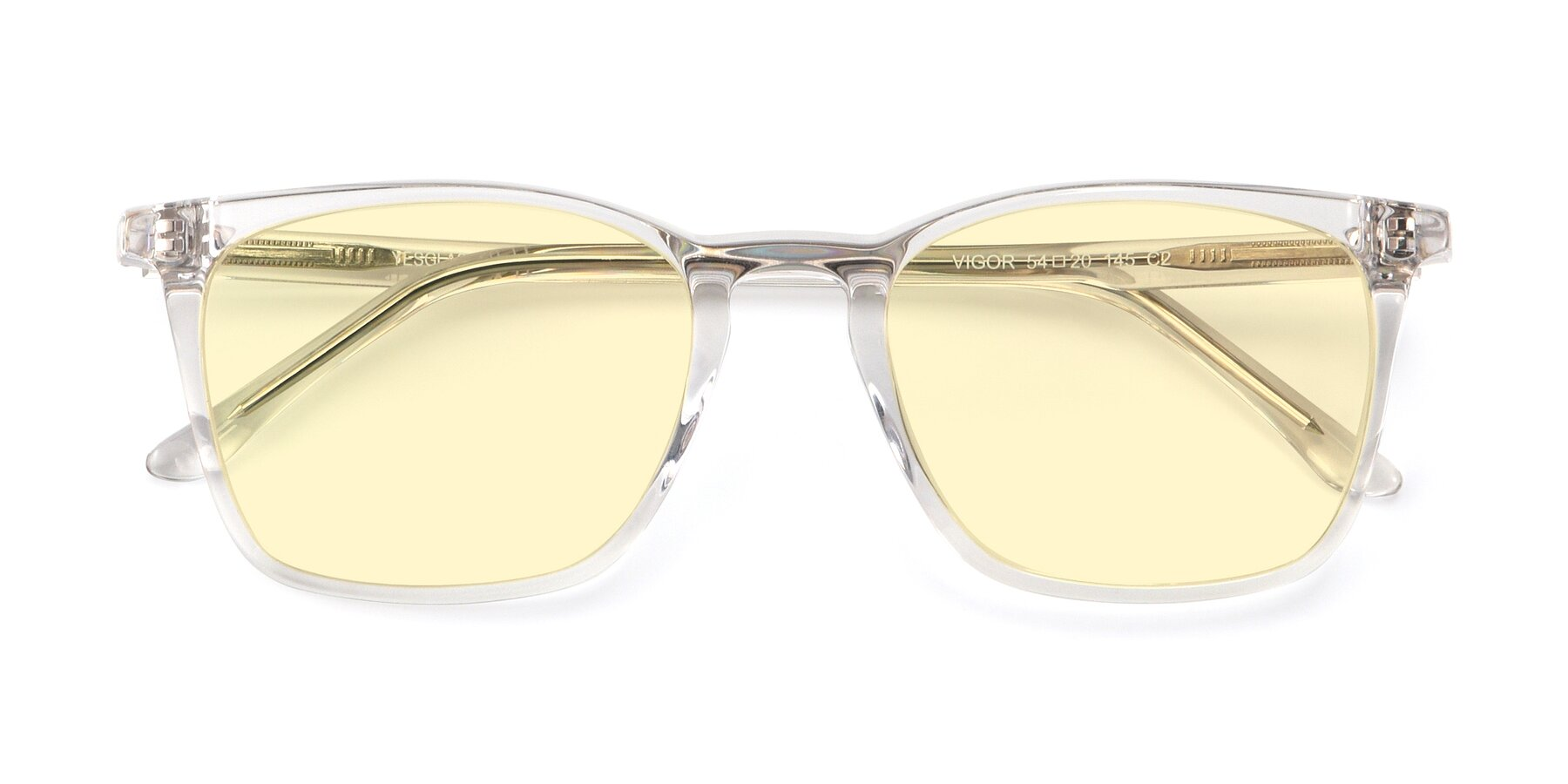Folded Front of Vigor in Clear with Light Yellow Tinted Lenses