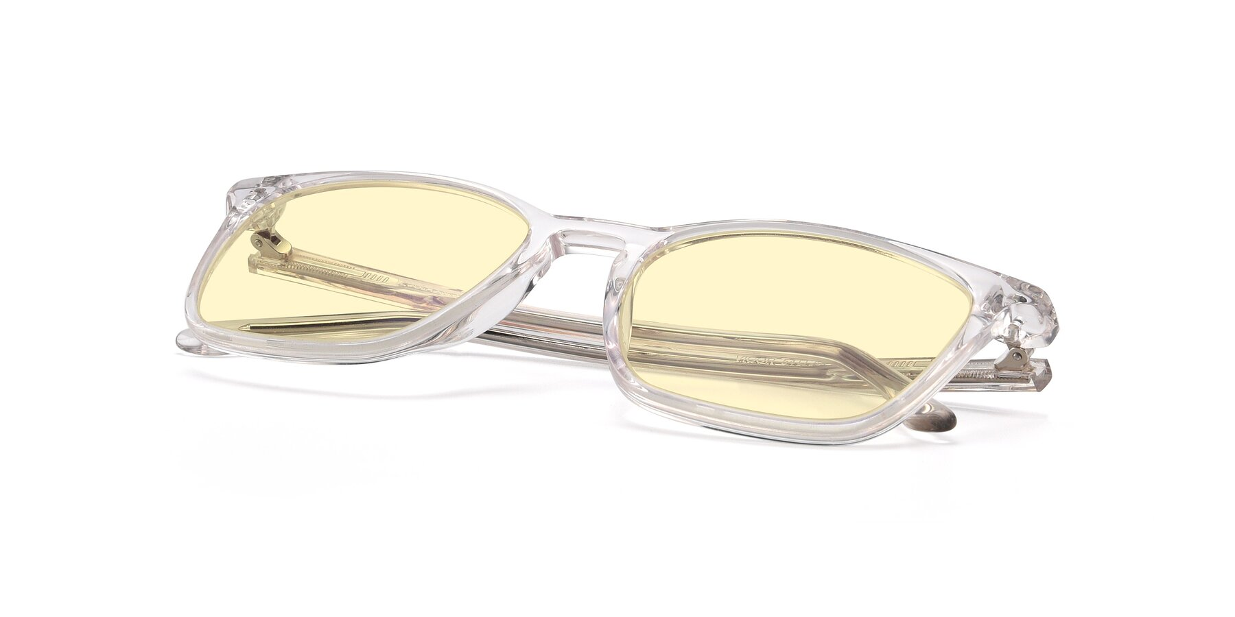 View of Vigor in Clear with Light Yellow Tinted Lenses