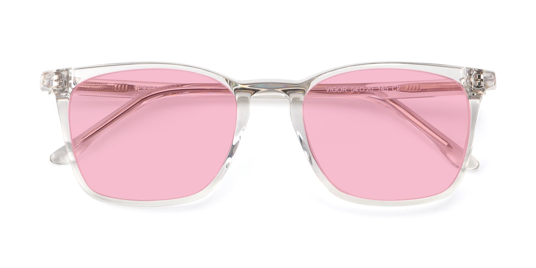 Folded Front of Vigor in Clear with Medium Pink Tinted Lenses