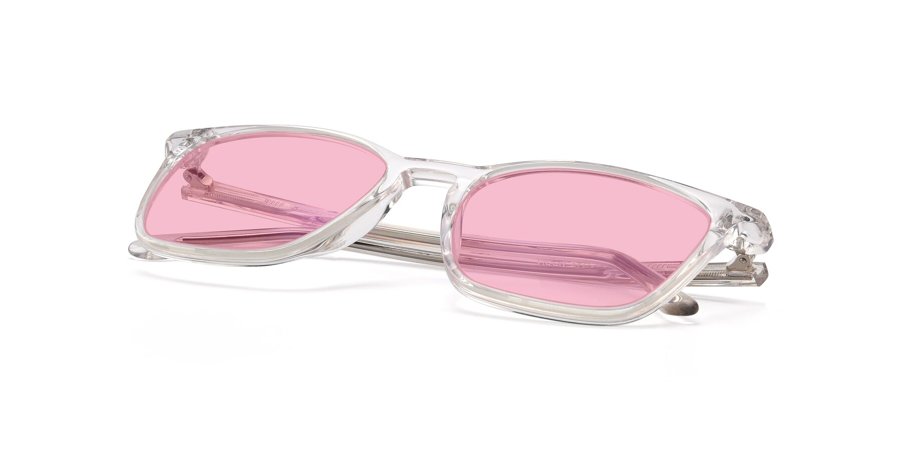 View of Vigor in Clear with Medium Pink Tinted Lenses