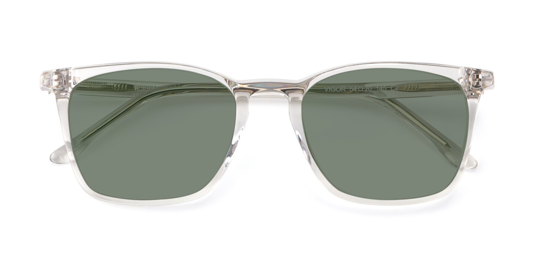 Folded Front of Vigor in Clear with Medium Green Tinted Lenses