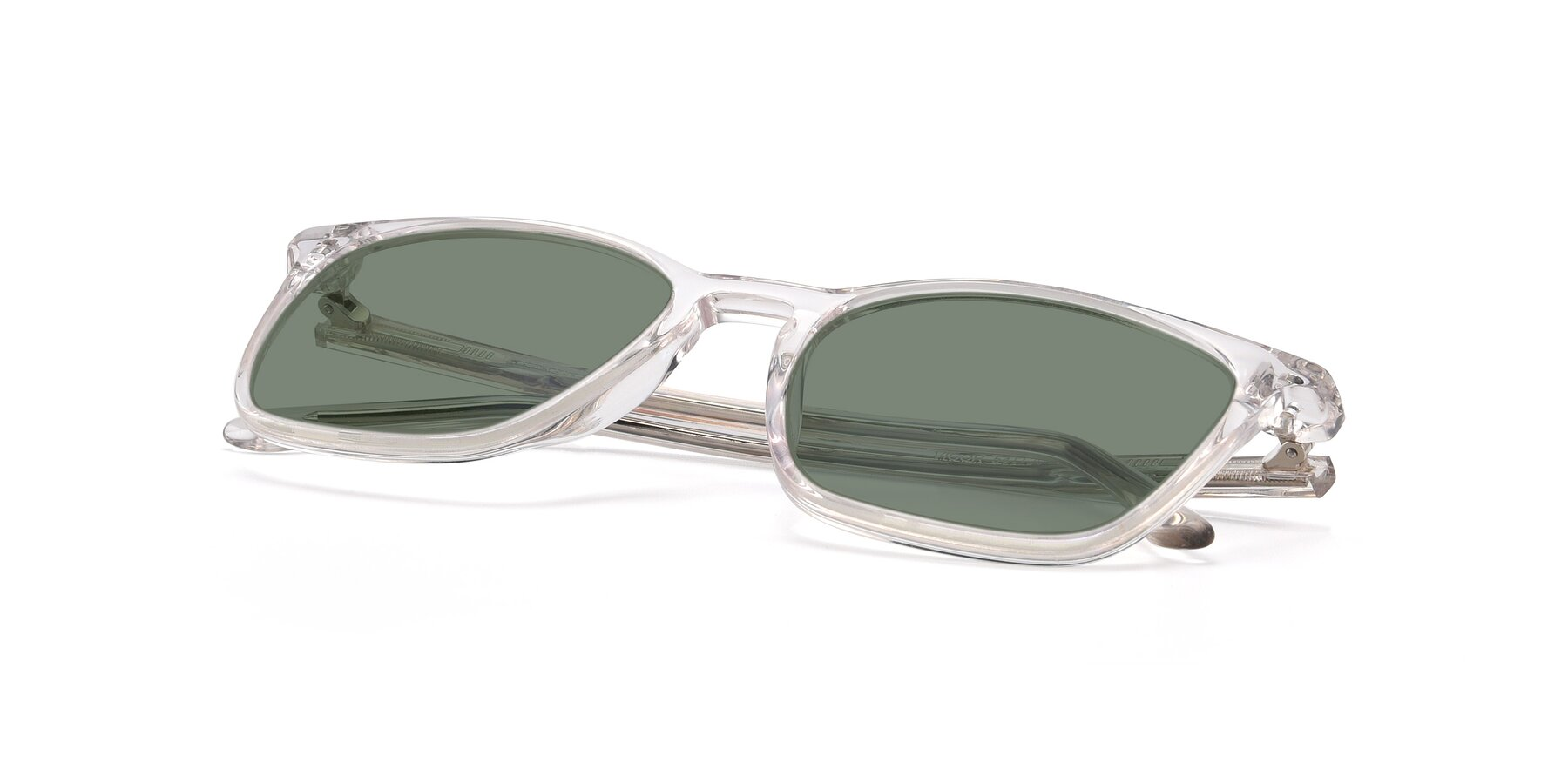 View of Vigor in Clear with Medium Green Tinted Lenses