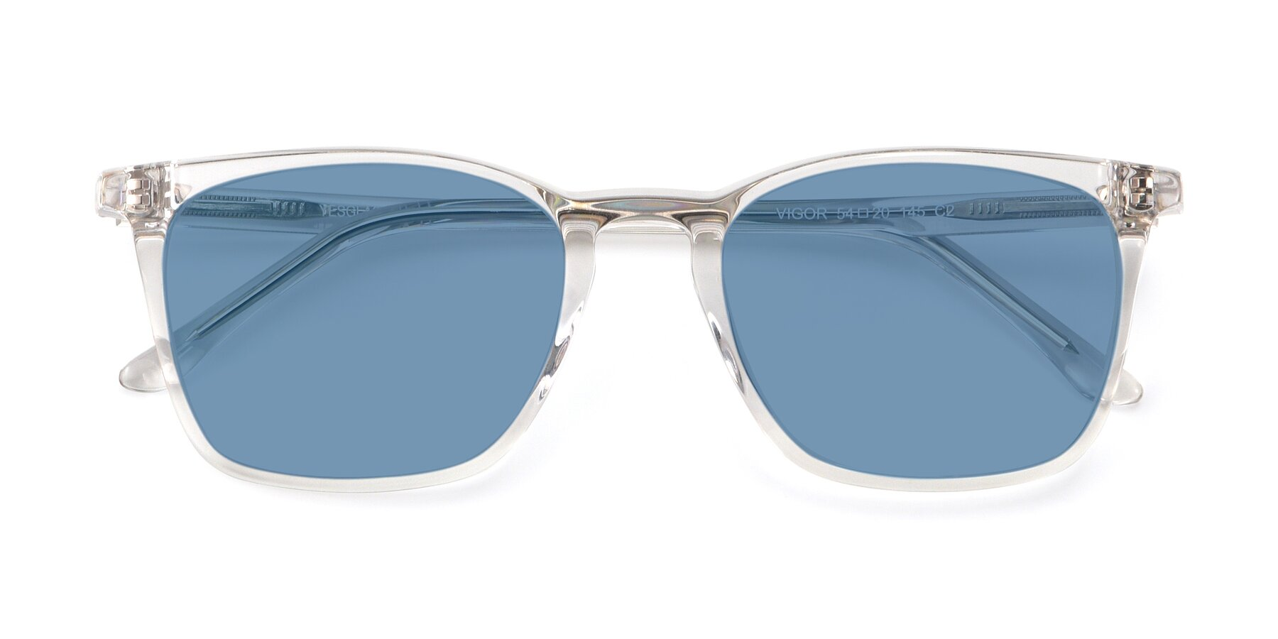 Folded Front of Vigor in Clear with Medium Blue Tinted Lenses