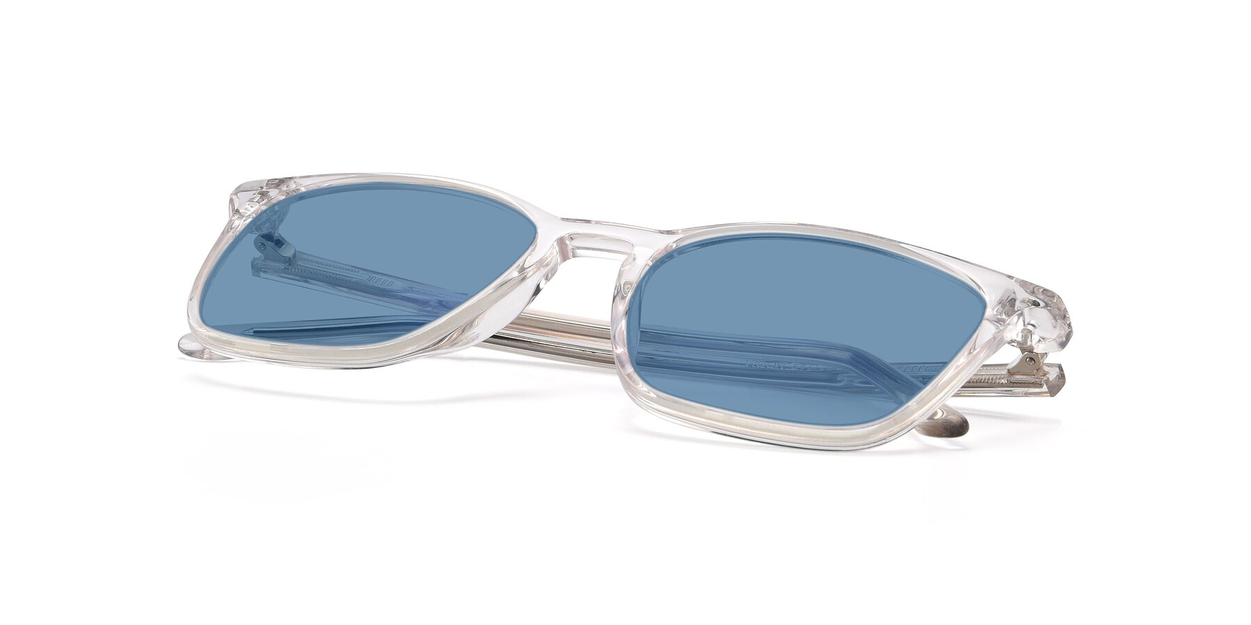 View of Vigor in Clear with Medium Blue Tinted Lenses