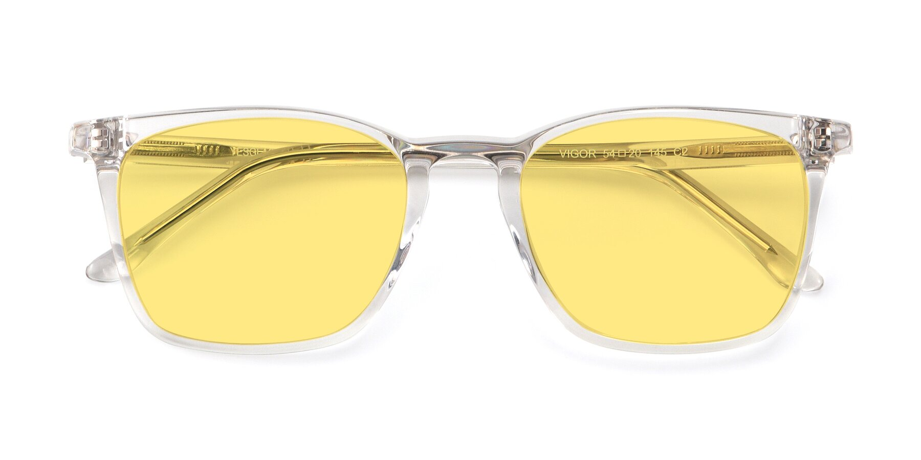 Folded Front of Vigor in Clear with Medium Yellow Tinted Lenses