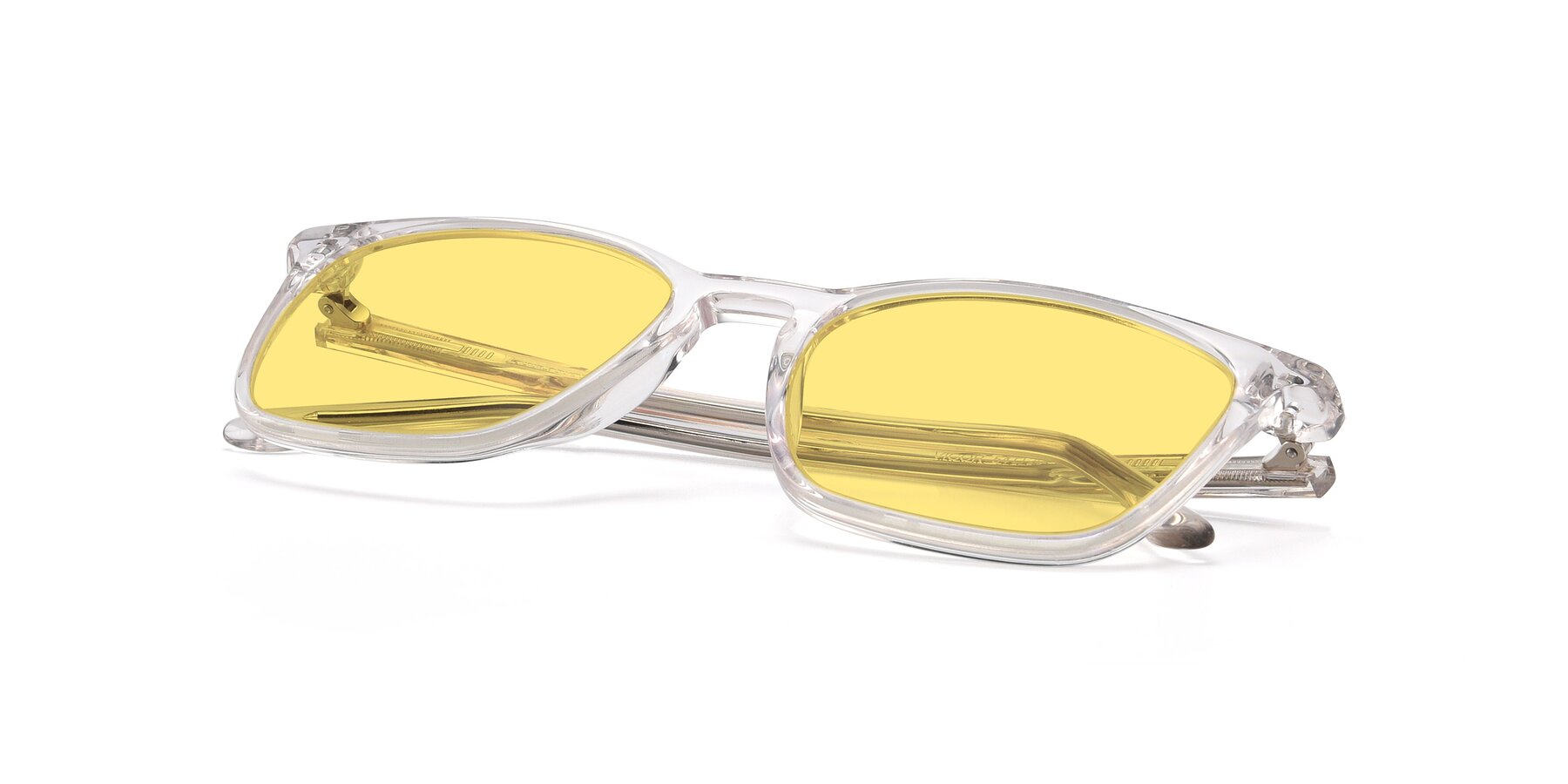 View of Vigor in Clear with Medium Yellow Tinted Lenses