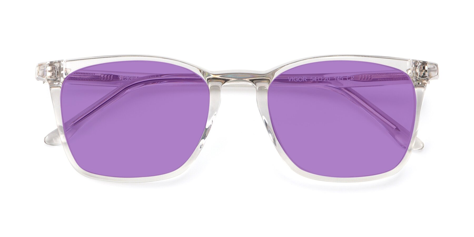 Folded Front of Vigor in Clear with Medium Purple Tinted Lenses