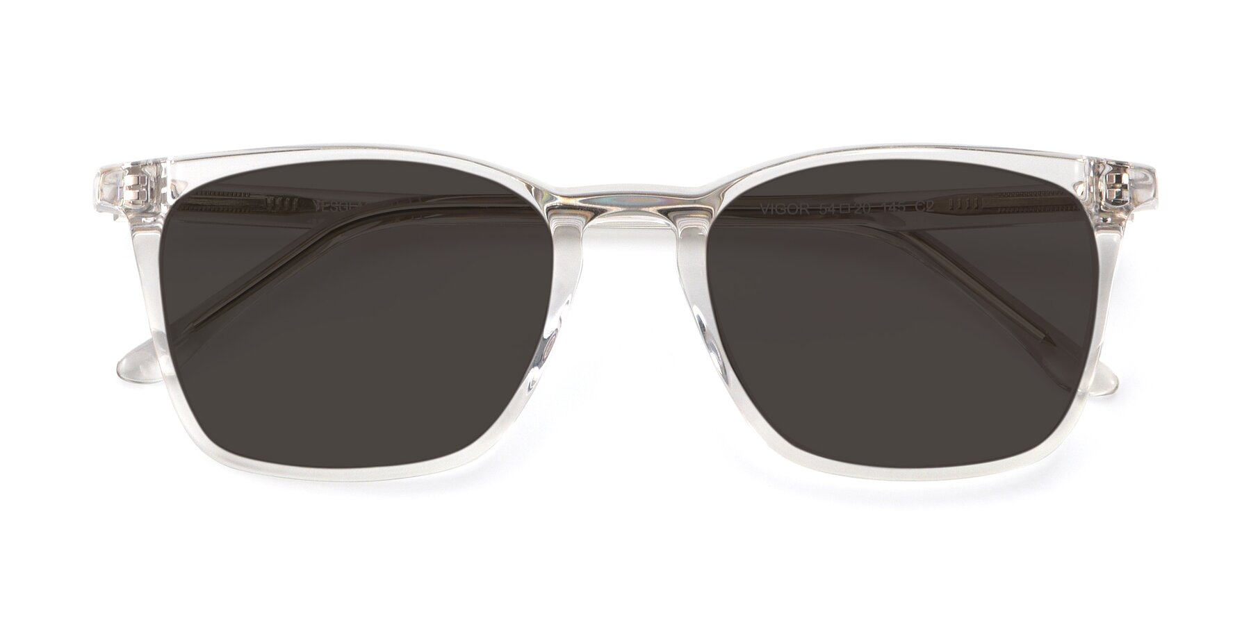 Folded Front of Vigor in Clear with Gray Tinted Lenses