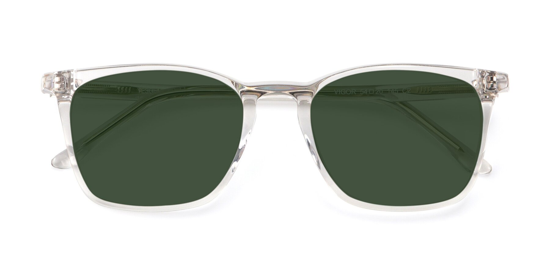 Folded Front of Vigor in Clear with Green Tinted Lenses