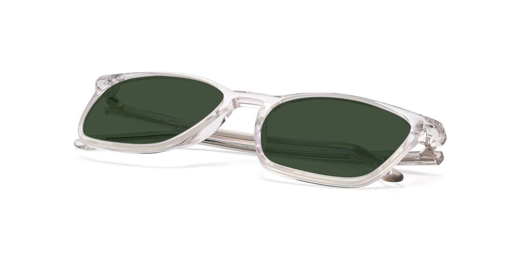 View of Vigor in Clear with Green Tinted Lenses